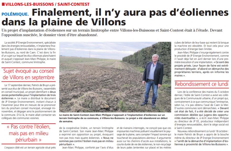 Finalement, il n'y aura pas d'éoliennes dans la plaine de Villons